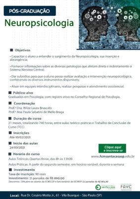 Pós-graduação em Neuropsicologia na FCMSantaCasa – Inscrições abertas